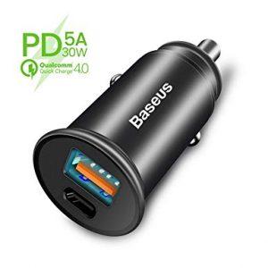 Baseus Dual Port USB A+C QC3.0,PD,AFC Fast Car Charger[BS-C16C1]-Black