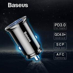 Baseus Dual USB A QC3.0-AFC-SCP 30W Car Charger [BS-C16Q1]-Black