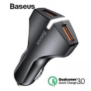 Baseus Rocket 27 Watt Dual Port QC 3.0 USB A+A Fast Car Charger [CCALL-RK01] – Black