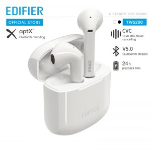 EDIFIER TWS200 TWS Earbuds Qualcomm AptX Wireless Earphone Bluetooth 5.0 CVc Dual MIC Noise Cancelling Up To 24h Playback Time – White