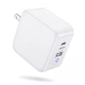 ESR 65W Fast Charger [GaN], 2-Port USB C PD 3.0 Plus USB A – White – EU Plug
