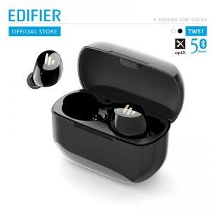 Edifier TWS1, Bluetooth 5.0,CVC 8.0,IPX5 Waterproof, AptX Supported Earbuds-Black Pakistan