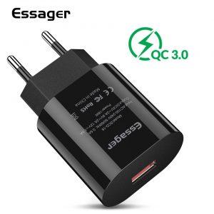 Essager Qualcomm QC3.0 Fast Charger For Samsung Xiaomi EU Plug – Black