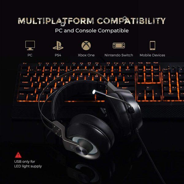 Mpow EG3 Pro – Over Ear Gaming Headset With 7.1 Surround Sound, Compatible With PC,PS4,Xbox One,Nintendo Switch, LED Light, Noise Cancelling Mic & Soft Memory Earmuff [BH357A]
