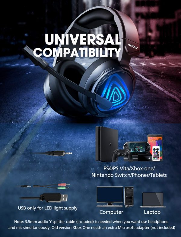 Mpow EG8 Wired Gaming Headphones With Noise Cancelling