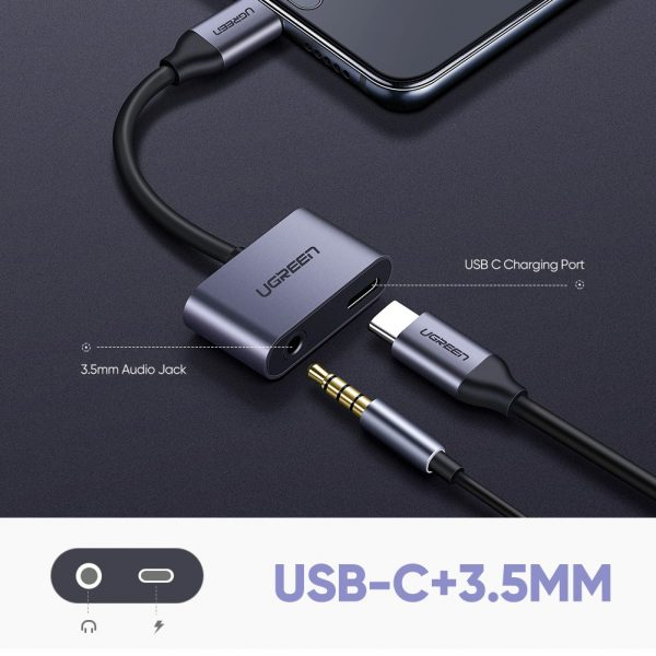 Ugreen Type C To 3.5mm Jack For Audio/Mic + Type C For Charging Adapter 90 Degree [50596]
